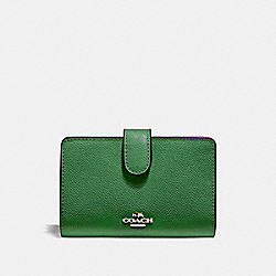 COACH F11484 Medium Corner Zip Wallet SILVER/KELLY GREEN