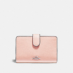 COACH F11484 Medium Corner Zip Wallet SILVER/LIGHT PINK