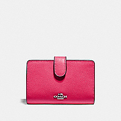 COACH F11484 Medium Corner Zip Wallet SILVER/MAGENTA