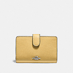 COACH F11484 - MEDIUM CORNER ZIP WALLET LIGHT YELLOW/SILVER