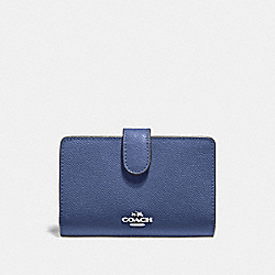 COACH F11484 Medium Corner Zip Wallet DARK PERIWINKLE/SILVER