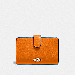 COACH F11484 - MEDIUM CORNER ZIP WALLET DARK ORANGE/SILVER
