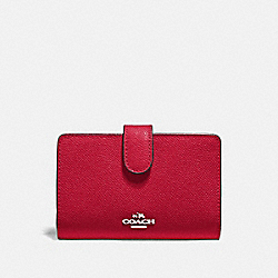 COACH F11484 - MEDIUM CORNER ZIP WALLET BRIGHT CARDINAL/SILVER