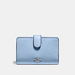 COACH F11484 Medium Corner Zip Wallet SILVER/POOL