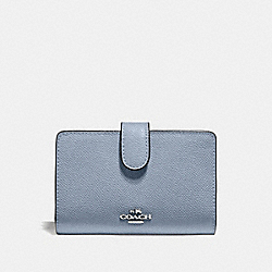 MEDIUM CORNER ZIP WALLET - F11484 - STEEL BLUE/SILVER