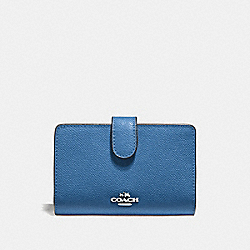 COACH F11484 Medium Corner Zip Wallet SV/SKY BLUE