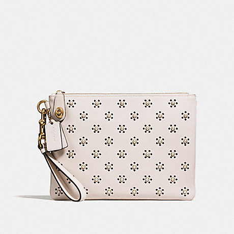 COACH F11703 TURNLOCK WRISTLET 30 WITH WHIPSTITCH EYELET AND SNAKESKIN DETAIL OL/CHALK