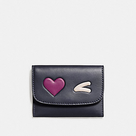 COACH F11720 HEART CARD POUCH IN GLOVETANNED LEATHER SILVER/MIDNIGHT-MULTI