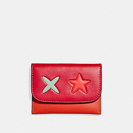COACH F11721 STAR CARD POUCH IN SMOOTH LEATHER SILVER/CARMINE-MULTI