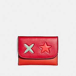 COACH F11721 - STAR CARD POUCH IN SMOOTH LEATHER SILVER/CARMINE MULTI