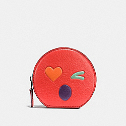 HEART ROUND COIN CASE IN GLOVETANNED LEATHER - f11727 - SILVER/MULTICOLOR 1
