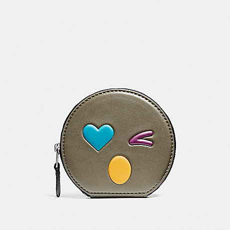COACH F11727 HEART ROUND COIN CASE IN GLOVETANNED LEATHER SILVER/OLIVE-MULTI