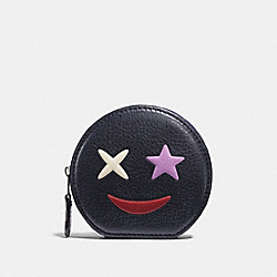 COACH F11730 Coin Case In Refined Calf Leather With Star SILVER/MULTICOLOR 1