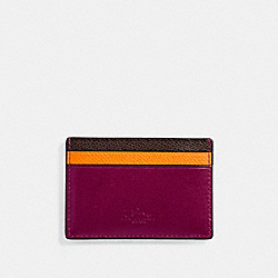 COACH F11739 Flat Card Case In Grain Leather With Rainbow SILVER/MULTICOLOR 1
