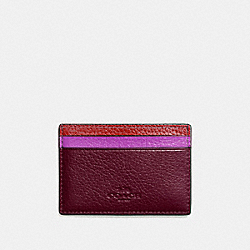 COACH F11739 Flat Card Case In Grain Leather With Rainbow SILVER/RED MULTI
