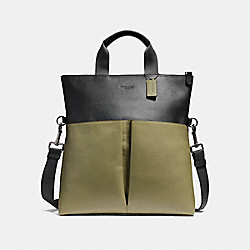 CHARLES FOLDOVER TOTE IN COLORBLOCK LEATHER - f11740 - BLACK ANTIQUE NICKEL/BLACK/MILITARY GREEN