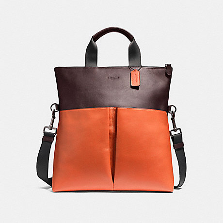 c258f08b70d2 ... top quality coach f11740 charles foldover tote in colorblock leather  black antique nickel oxblood coral 49d90