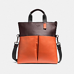 CHARLES FOLDOVER TOTE IN COLORBLOCK LEATHER - f11740 - BLACK ANTIQUE NICKEL/OXBLOOD/CORAL