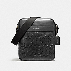 COACH F11741 - CHARLES FLIGHT BAG IN SIGNATURE CROSSGRAIN LEATHER NICKEL/BLACK
