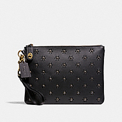 COACH F11742 Turnlock Wristlet 30 With Whipstitch Eyelet OL/BLACK