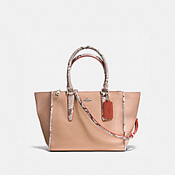 CROSBY CARRYALL IN NATURAL REFINED LEATHER WITH PYTHON EMBOSSED LEATHER TRIM - f11751 - SILVER/NUDE PINK MULTI