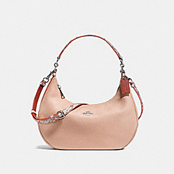 EAST/WEST HARLEY HOBO IN POLISHED PEBBLE LEATHER WITH PYTHON EMBOSSED LEATHER TRIM - f11752 - SILVER/NUDE PINK MULTI