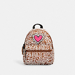 COACH F11774 - KEITH HARING MINI CHARLIE BACKPACK WITH GRAPHIC PRINT QB/SADDLE MULTI