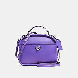 LUNCH PAIL IN RETRO SMOOTH CALF LEATHER - f11785 - ANTIQUE NICKEL/PURPLE