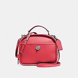 LUNCH PAIL IN RETRO SMOOTH CALF LEATHER - f11785 - SILVER/TRUE RED