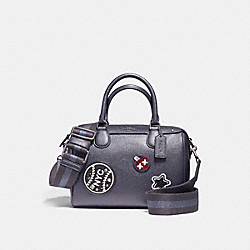 MINI BENNETT SATCHEL IN CROSSGRAIN LEATHER WITH WEBBED STRAP - f11803 - ANTIQUE NICKEL/MIDNIGHT