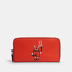 COACH F11805 - KEITH HARING ACCORDION ZIP WALLET QB/BRIGHT ORANGE