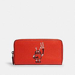 COACH F11805 Keith Haring Accordion Zip Wallet QB/BRIGHT ORANGE