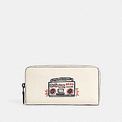 COACH F11805 Keith Haring Accordion Zip Wallet QB/CHALK