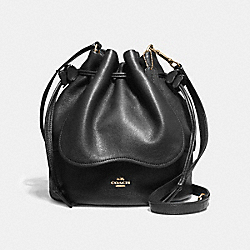 PETAL BAG 22 IN PEBBLE LEATHER - f11807 - LIGHT GOLD/BLACK