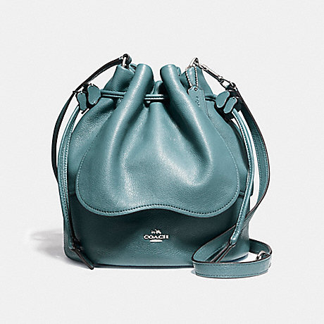 COACH f11807 PETAL BAG 22 IN PEBBLE LEATHER SILVER/DARK TEAL