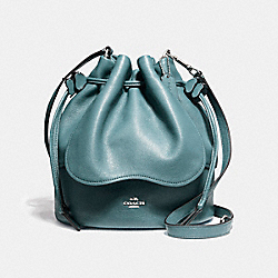 PETAL BAG 22 IN PEBBLE LEATHER - f11807 - SILVER/DARK TEAL