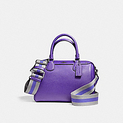 MINI BENNETT SATCHEL IN CROSSGRAIN LEATHER WITH WEBBED STRAP - f11808 - ANTIQUE NICKEL/PURPLE