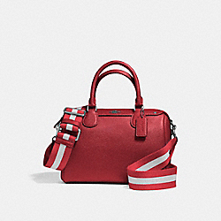 MINI BENNETT SATCHEL IN CROSSGRAIN LEATHER WITH WEBBED STRAP - f11808 - SILVER/TRUE RED