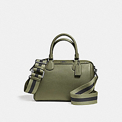 MINI BENNETT SATCHEL IN CROSSGRAIN LEATHER WITH WEBBED STRAP - f11808 - SILVER/MILITARY GREEN