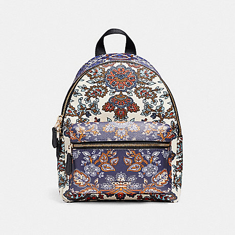 COACH f11809 MINI CHARLIE BACKPACK IN FOREST FLOWER PRINT MIX COATED CANVAS LIGHT GOLD/MULTICOLOR