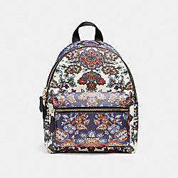 MINI CHARLIE BACKPACK IN FOREST FLOWER PRINT MIX COATED CANVAS - f11809 - LIGHT GOLD/MULTICOLOR