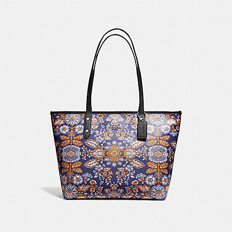 COACH f11823 CITY ZIP TOTE IN FOREST FLOWER PRINT COATED CANVAS SILVER/BLUE