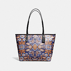 CITY ZIP TOTE IN FOREST FLOWER PRINT COATED CANVAS - f11823 - SILVER/BLUE