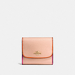 SMALL WALLET IN POLISHED PEBBLE LEATHER WITH MULTI EDGEPAINT - f11824 - IMITATION GOLD/NUDE PINK MULTI
