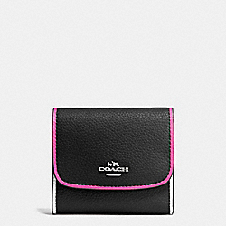 COACH F11824 Small Wallet In Polished Pebble Leather With Multi Edgepaint SILVER/BLACK MULTI