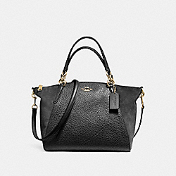 SMALL KELSEY SATCHEL IN MIXED MATERIALS - f11832 - LIGHT GOLD/BLACK