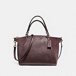 SMALL KELSEY SATCHEL IN MIXED MATERIALS - f11832 - LIGHT GOLD/OXBLOOD 1