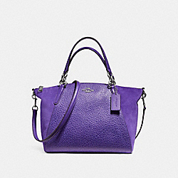 SMALL KELSEY SATCHEL IN MIXED MATERIALS - f11832 - SILVER/PURPLE