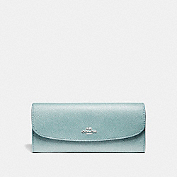 COACH F11835 - SOFT WALLET IN GLITTER CROSSGRAIN LEATHER SILVER/AQUA