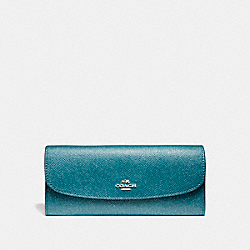 COACH F11835 - SOFT WALLET IN GLITTER CROSSGRAIN LEATHER SILVER/DARK TEAL
